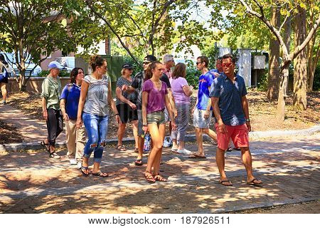Charleston, SC, USA - 09/10/2016: Group of tourists in the historic district of Charleston SC