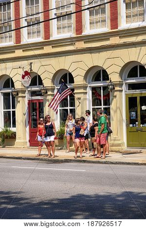 Charleston, SC, USA - 09/10/2016: People outside Amber Tours office in Charleston SC