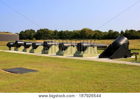 Sullivan Island, SC, USA - 09/10/2016: Cannon Row in the grounds of Fort Moultrie on Sullivan's Island in SC. Built in 1776 to protect the city of Charleston.