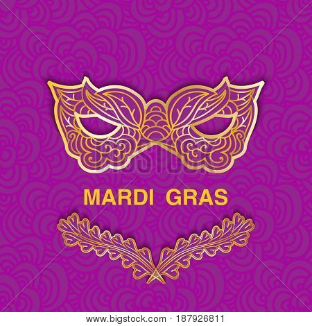 Mardi Gras golden icons on purple patterned background. Template design for greeting card or invitation with space for text. Vector illustration