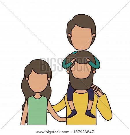 colorful caricature faceless front view half body family with wavy long hair woman and bearded man with boy on his back vector illustration