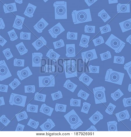 Digital Camera Icon Seamless Pattern on Blue Background
