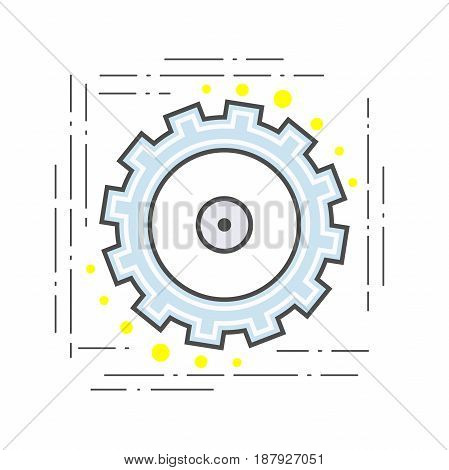 Gear pinion flat line modern icon. illustration Sign