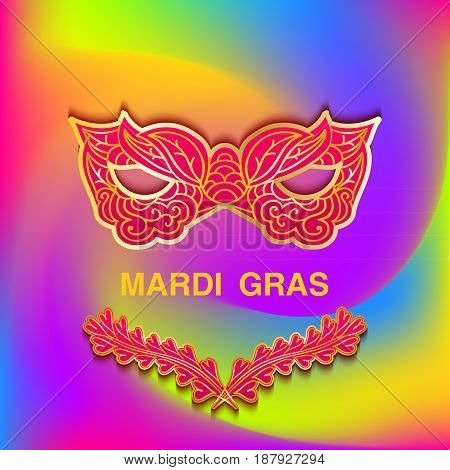 Bright colorful background with patterned mask Mardi Gras. Template cards banner or invitation. Vector illustration.