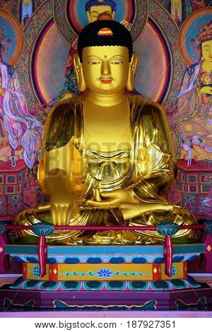Colorful Buddha Sculpture taken at a Buddhist Monastery where people can meditate