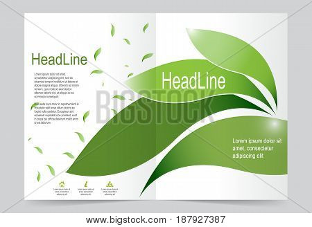 Green leaf Cover template background flyer design. Abstract template for annual business report poster