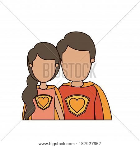 colorful caricature faceless half body young couple female and male super hero with heart symbol in uniform vector illustration