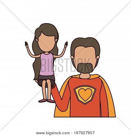 colorful caricature faceless half body super dad hero with girl on his hand vector illustration