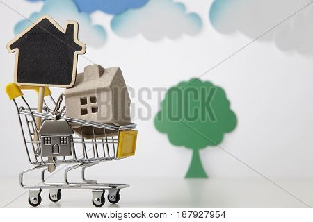 House in shopping cart on a white background