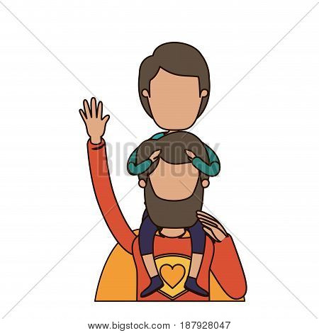 colorful caricature faceless half body super dad hero with boy on his back vector illustration