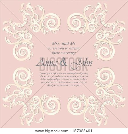 Wedding card Invitation card with ornamental on pink background