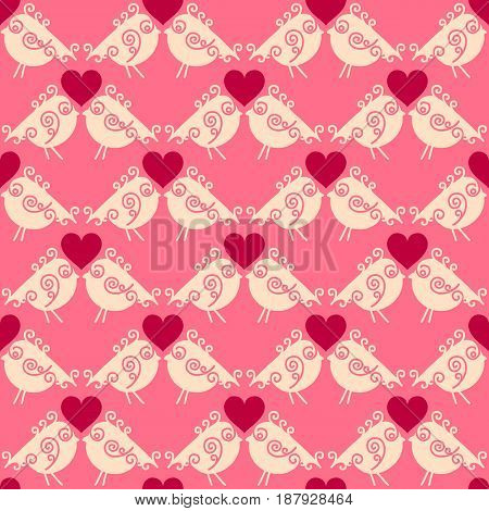 Lovers birdies seamless geometric pattern. Valentines Day love background. Vector illustration