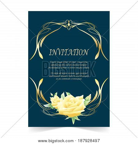 Wedding card Invitation card with yellow rose flower on navy blue background