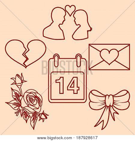 Set valentines day design line elements. Vector illustration