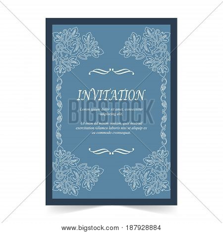 Invitation card Wedding card with ornament on blue background