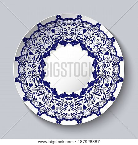 Decorative ceramic plate with a blue floral pattern. Vector illustration