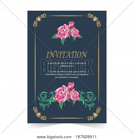 Wedding card Invitation card with red rose flower on navy blue background