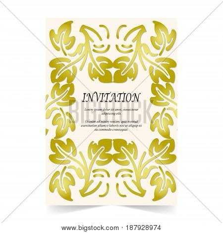 Invitation card Wedding card with ornament on beige background