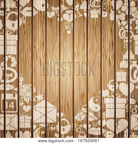 Frame in the shape of heart of the elements of Valentines Day on the background textured wood. Vector illustration
