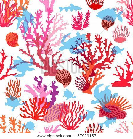 Seamless vector pattern with fishes, tortillas and seaweed on white background. Marine textile collection.
