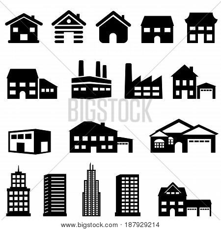 Exterior architecture of buildings and houses real estate icons
