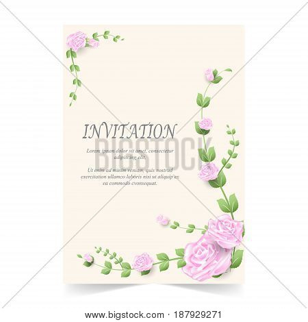 Invitation card wedding card with pink rose in spring time on ivory background