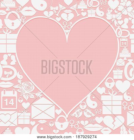 Valentines Day card with empty space in the form of heart on the background of the icons. Vector illustration