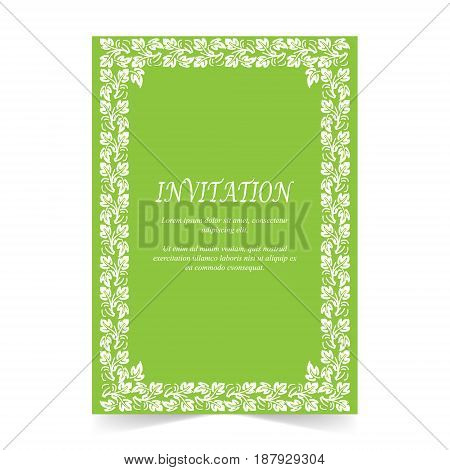 Invitation card Wedding card with ornament on green background