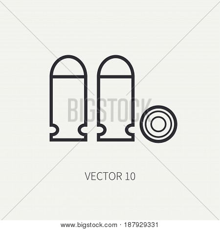 Line flat vector military icon - ammunition , ammo. Army equipment and weapons. Cartoon style. Army. Assault. Soldiers. Armament. Retro. Vector illustration and element for your design , wallpaper