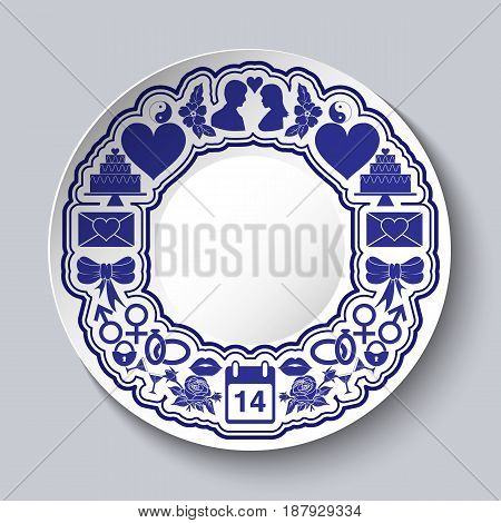 Valentines day decorative plate with empty space in the middle and on the edges of icons. Vector illustration