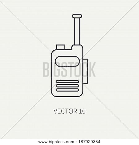 Line flat vector military icon - radio set. Army equipment and weapons. Cartoon style. Army. Assault. Soldiers. Armament. Ammunition. War. Vector illustration and element for your design , wallpaper.