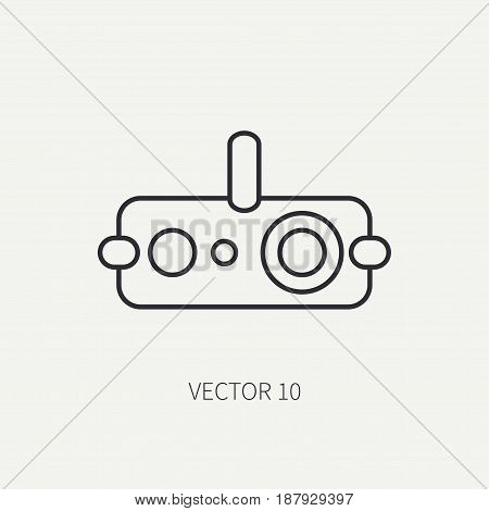 Line flat vector military icon - night-vision device. Army equipment and weapons. Cartoon style. Assault. Soldiers. Armament. Ammunition. Vector illustration and element for your design , wallpaper.