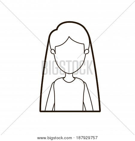 black thick contour caricature faceless half body woman with straight long hairstyle vector illustration