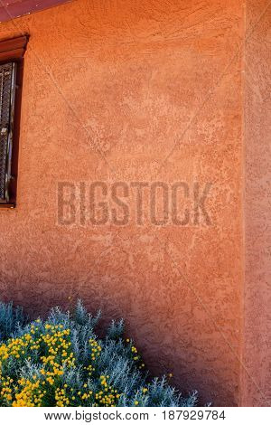 Albuquerque, NM, USA - 06/17/2015: Stucco wall on the side of a store in Old Town Albuquerque in New Mexico