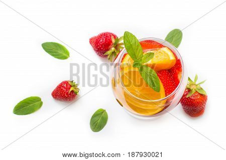 Strawberry Lemonade With Oranges And Mint .