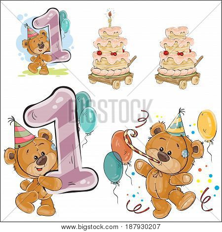 Set of vector illustrations with brown teddy bear, birthday cake and number 1, prints, templates, design elements for greeting cards, invitation cards, postcards
