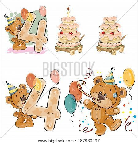 Set of vector illustrations with brown teddy bear, birthday cake and number 4. Prints, templates, design elements for greeting cards, invitation cards, postcards