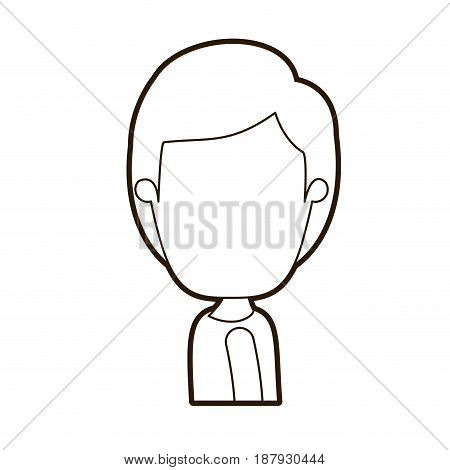black thick contour caricature faceless side view half body boy with hairstyle vector illustration