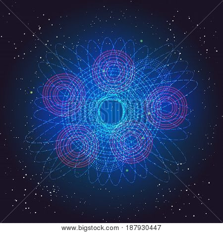 Boson Higgs, quantum mechanics. Voyage in the Space. Big Bang illustration. Vector abstract cosmic background