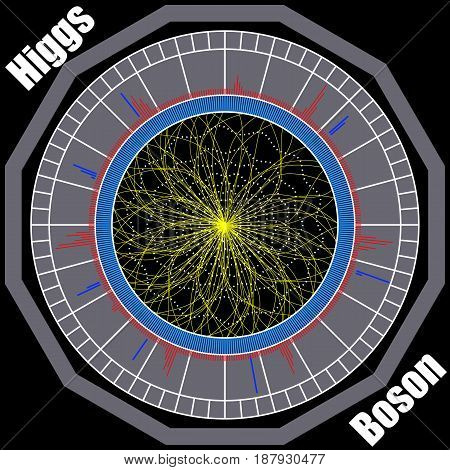 Boson Higgs, quantum mechanics, Hadron Collider. Voyage in the Space. Big Bang illustration. Vector abstract cosmic background