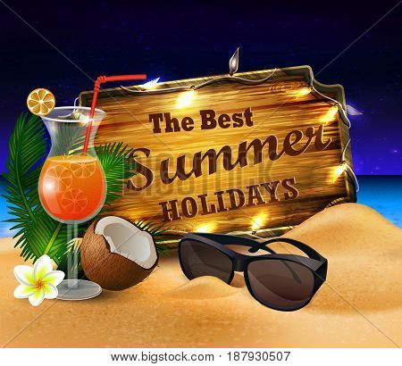 tropical vector background with summer night sky and wooden desk decorated with patio lights coconut orange beverage and sunglasses on a sand beach