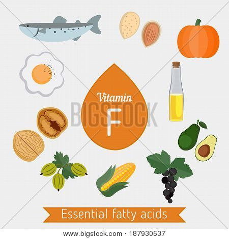 Vitamin F Or Essential Fatty Acids Infographic