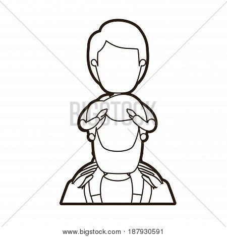 black thick contour caricature faceless front view half body bearded father with boy on his back vector illustration