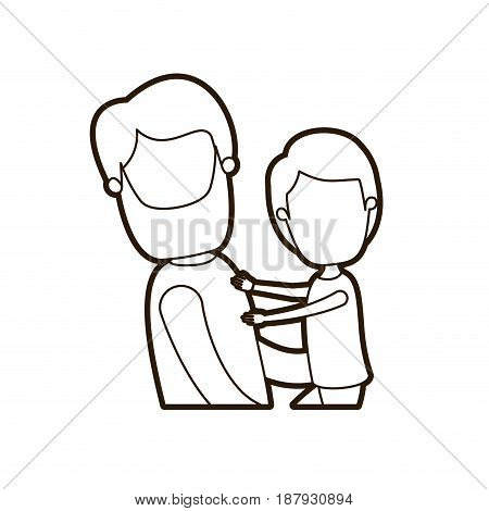 black thick contour caricature faceless side view half body bearded man carrying a child vector illustration