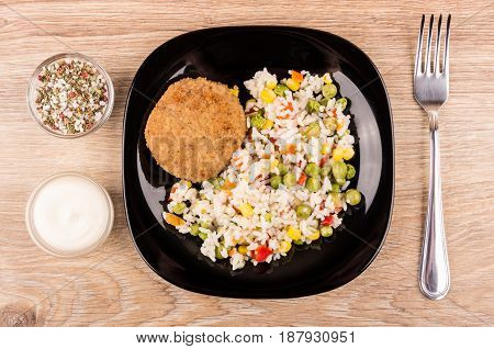 Fried Cutlet With Vegetable Mix In Plate, Spices, Mayonnaise
