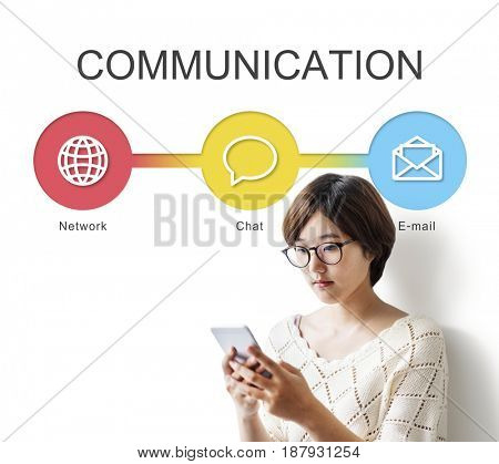 Asian Woman Using Mobile Online Communication