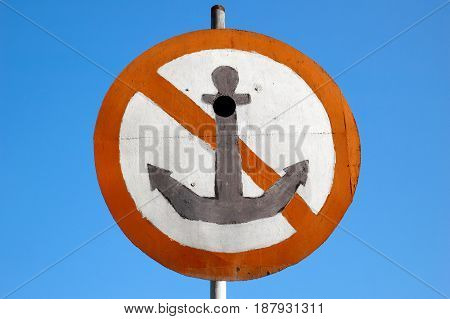 No Anchor sign on blue sky background
