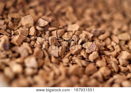 Granules of instant coffee, close up view