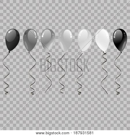Set Of Silver, Black, White With Confetti Helium Balloons Isolated In The Air. Balloons Flying For P