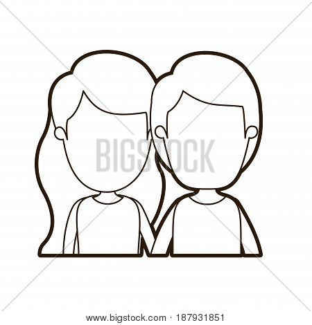 black thick contour caricature faceless front view half body couple children vector illustration